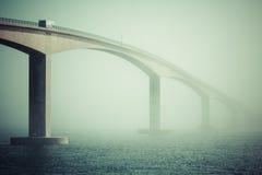 Long modern bridge over fjord Stock Image