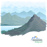 Long Mountain Range and River stock illustration