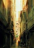 Long narrow alleyway at sunset. Digital painting of long narrow alleyway at sunset,illustration Stock Photos