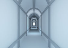 Long narrow corridor with light at the end Stock Photography
