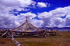 Long Narrow Flag. Beside Na Mu Lake at Tibet Royalty Free Stock Images