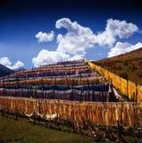 Long narrow flags in Tibet Stock Photo