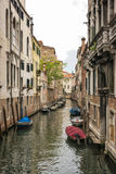 Long narrow straight channel in Venice Stock Photo