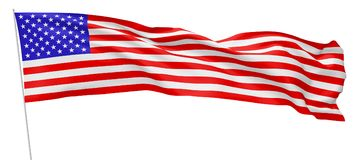 Long national flag of United States of America on flagpole. National flag of United States of America with stars and stripes with flagpole flying and waving in Stock Photo