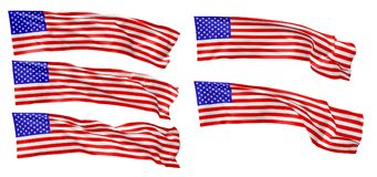 Long national flag of United States of America set. National flag of United States of America with stars and stripes flying and waving in wind isolated on white Royalty Free Stock Images