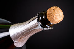 Long neck champagne bottle stock photography