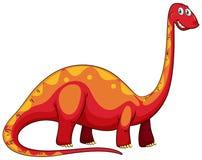 Long neck red dinosaur on white Stock Photos