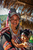 Long Neck Woman and baby near Chiang Mai, Thailand Stock Photo