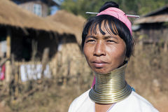 Long-Neck Woman, Myanmar. Loikaw, Myanmar-January 23, 2016. A portrait of a woman from the Padaung tribe (Karen). The ladies are famous for wearing large brass Stock Photography