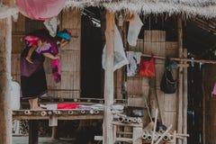 Kayan tribe, Kayan Lady in Kayan village, Kayah State, Myanmar royalty free stock photos