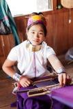 Long neck woman weaving Royalty Free Stock Photo