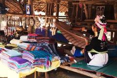Long neck woman weaving Stock Photography
