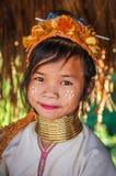 Long Neck young girl near Chiang Mai, Thailand royalty free stock image