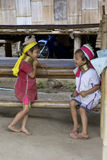 Long Necked Karen. Children playing in Huai Seau Tao village on Sept 23, 2008, Mae Hong Son, Thailand. The Kayan tribe has about 50 000 persons Royalty Free Stock Images