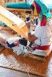 Long necked Kayan Padaung woman weaving Royalty Free Stock Photography