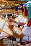 Long necked Kayan Padaung woman weaving Stock Photos