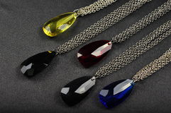 LONG NECKLACES WITH BIG BEADS. JEWELERY LONG NECKLACES WITH PENDANT royalty free stock images