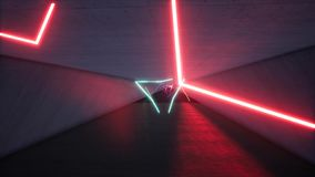 Long Neon tunnel 3d render stock video footage