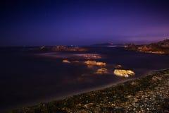 Concheiras Beach in Baiona at night stock photo