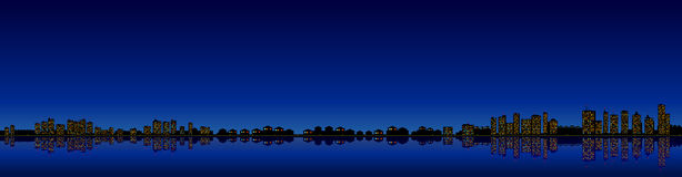 Long night landscape of a city with lighted lights reflected in water vector illustration