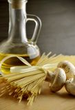 Long noodles, mushrooms,tomato Stock Photography