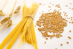 Long noodles. Spikelets of wheat Royalty Free Stock Image