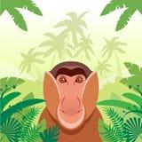 Long-nosed monkey on the Jungle Background. Flat Vector image of the Long-nosed monkey on the Jungle Background Stock Photo