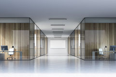 Long office corridor with a poster Royalty Free Stock Image