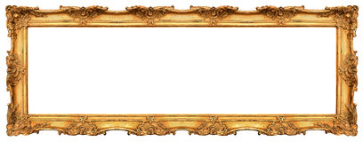 Long old golden frame isolated on white. Beautiful vintage background Royalty Free Stock Photos