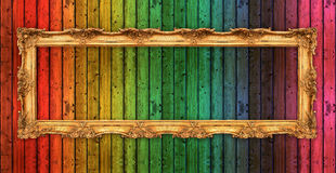 Free Long Old Golden Frame Over Colorful Wooden Wall Royalty Free Stock Images - 39254039