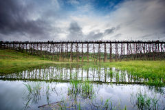 Long old wooden bridge Royalty Free Stock Photography