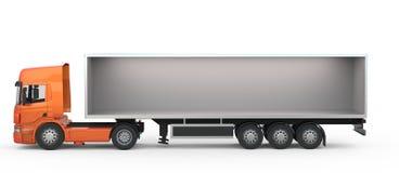 Long orange open truck Royalty Free Stock Image