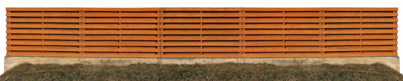 Long orange wooden fence Royalty Free Stock Photo