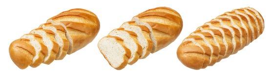 Long pain Pain blanc coupé en tranches d'isolement sur le fond blanc images libres de droits
