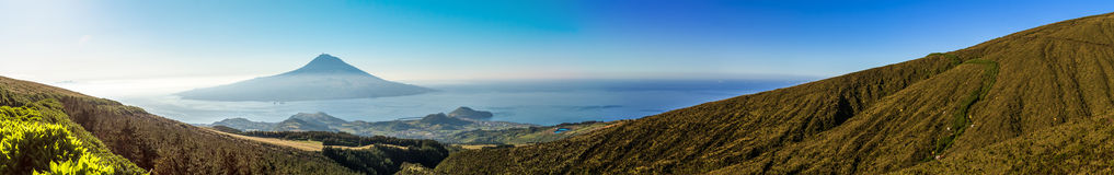 Long panorama of the beautiful landscape in the Azores at sunrise. Stock Photography