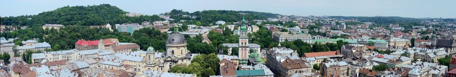 Long panorama of Lvov (Lemberg) old town,Western Ukraine. Long panorama of Lvov (Lemberg) old town and market square from the city hall tower, Western Ukraine stock photography
