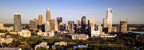 Long Panoramic Aerial view of the Downtown City Skyline of Charl Stock Image