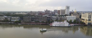 Ferry Boats Move Across the Savannah River from Downtown royalty free stock photography