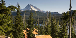 Panoramic View Cabins Around Olallie Lake Near Mount Jefferson Royalty Free Stock Photo