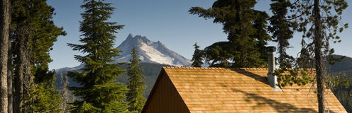 Panoramic View of Cabin Rooftops Around Lake Near Mount Jefferso Stock Photography