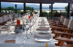 Long party table outdoor Royalty Free Stock Photography