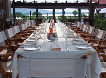 Long party table outdoor Royalty Free Stock Photos