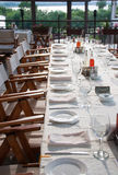 Long party table outdoor Stock Photography
