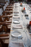 Long party table outdoor Royalty Free Stock Image
