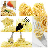 Long pasta collage Royalty Free Stock Photography