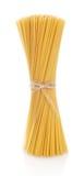 Long pasta spaghetti raw isolated on white Stock Photos