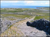 The Long Path. Path to Dun Angosa, Aran Islands, Ireland royalty free stock image