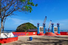 Long pedestrian Bridge to jungle trail in Hanuman island Royalty Free Stock Photos