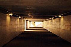 A long pedestrian tunnel Royalty Free Stock Photography
