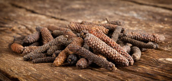 Long pepper or Piper longum. On wooden table Royalty Free Stock Photography